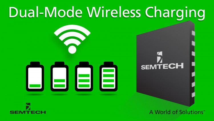 Semtech Wireless Charging Platform Offers Dual Mode Medium Power Compatibility for Latest Quick Charging Devices TS80K Wireless Charging ICs support WPC Q1.2 and PMA SR1E medium power 15W standards