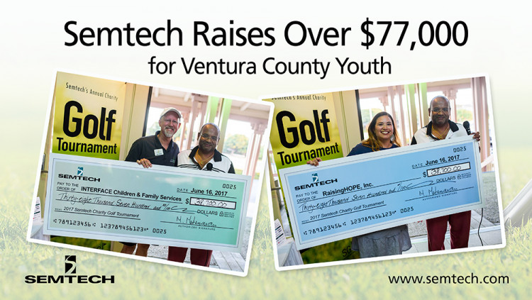 Semtech Raises Over $77,000 for Ventura County Youth Proceeds from 5th annual charity golf tournament will go to RaisingHOPE, Inc. and to Interface Children & Family Services