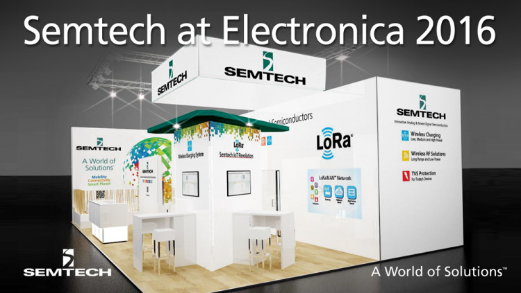 Semtech Features LoRa Technology and New Wireless Charging Platforms at electronica Semtech's comprehensive portfolio of next-generation analog/mixed-signal ICs includes breakthrough products for power management, protection and the Internet of Things