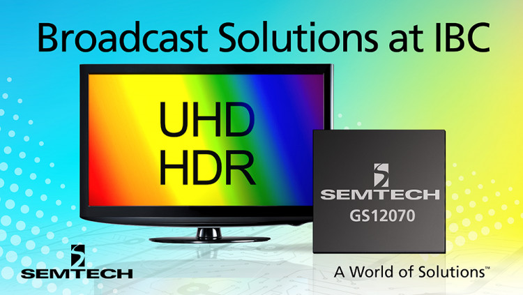 Semtech's Award-Winning UHD-SDI Broadcast Solutions Showcased at the International Broadcasting Convention 2016 Next-generation broadcast platforms, including the GS12070 UHD-SDI Gearbox, will be displayed in booth 10.F46
