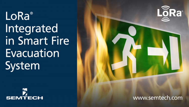Semtech's LoRa Technology Integrated in Smart Fire Evacuation System HEX's exit signs connect to the Cloud allowing safer navigation in hazardous environments