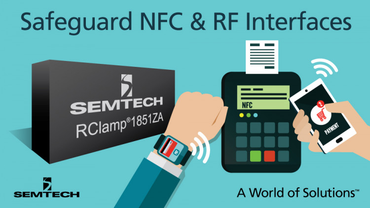 Semtech Expands Mobile Protection Platform with RClamp® 1851ZA – an 18V TVS Protection Device for Safeguarding NFC and RF Interfaces Semtech's RClamp1851ZA protects portable devices from dangerous ESD transients