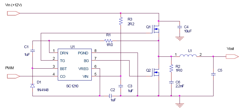 Sc1210 High Speed 12 V Synchronous Power Mosfet Driver