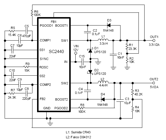 sc2440 2 5mhz dual switching regulator integrated 2a